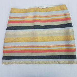 J. Crew Mini Skirt Shiny Stripe Gold Pink Size 4